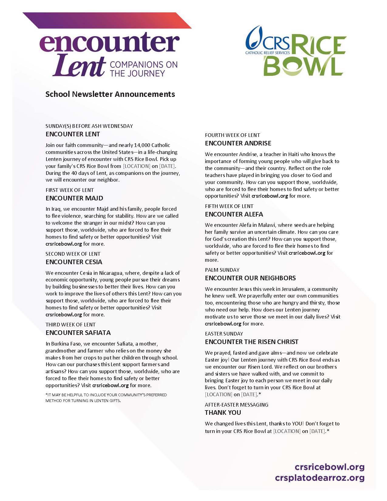 Lenten Activities For Schools Crs Rice Bowl