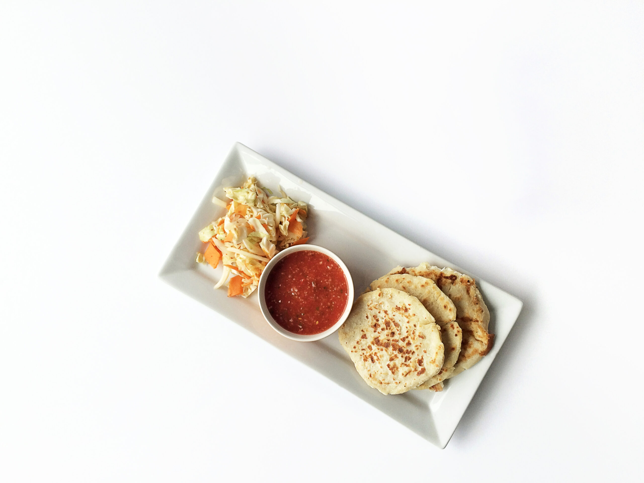 Cheese Pupusas with Curtido and Salsa
